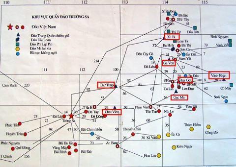 Bản đồ các đảo bị Trung Quốc chiếm giữ ở quần đảo Trường Sa trên Biển Đông