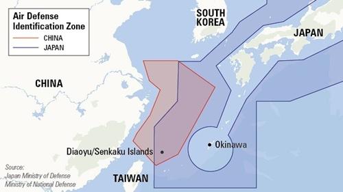 Vùng nhận dạng phòng không Trung Quốc đưa ra trên biển Hoa Đông (màu đỏ)