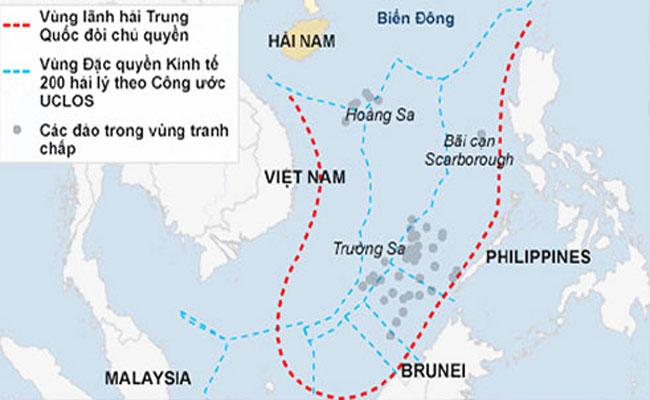 """tình hình Biển Đông ngày 31/10: Bản đồ đường lưỡi bò phi lý của Trung Quốc """"liếm"""" tới 90% diện tích Biển Đông"""