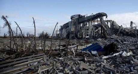 Đống đổ nát tại sân bay Lugansk