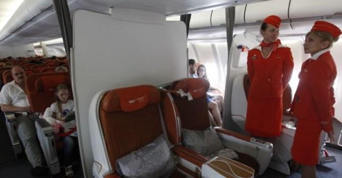 Hành khách ngồi trên một chuyến bay của hãng hàng không Aeroflot
