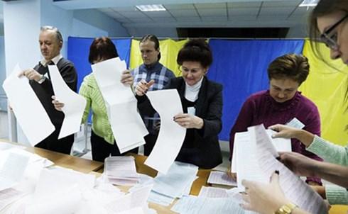 Một điểm bỏ phiếu cuộc bầu cử địa phương ở Ukraine