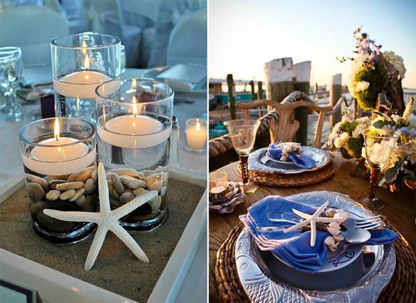 Tổ chức tiệc cưới trên biển thêm hương vị biển với những chi tiết vỏ sò vỏ ốc