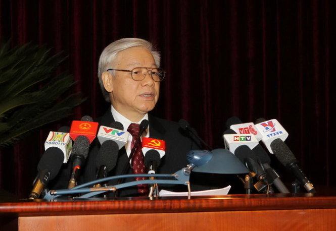 Tổng Bí thư Nguyễn Phú Trọng phát biểu khai mạc Hội nghị Trung ương lần thứ 12 (khóa XI)