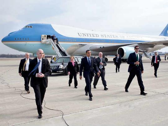Chuyên cơ chở Tổng thống Mỹ Barack Obama sẽ hạ cánh xuống sân bay quốc tế Nội Bài vào rạng sáng 23/5. Ảnh Dân Trí