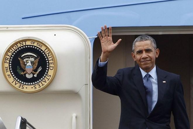 Sau 2 chặng dừng tiếp nhiên liệu, máy bay chở Tổng thống Obama dự kiến hạ cánh tại sân bay Nội Bài vào 1h sáng ngày 23/5 (giờ Hà Nội). Ảnh Washington Times