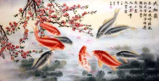 Người tuổi Mùi nên chọn tranh phong thùy phòng khách có hình cá chép