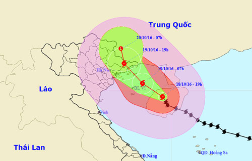 Bão số 7 đổi hướng tiến vào đất liền Quảng Ninh- Lạng Sơn