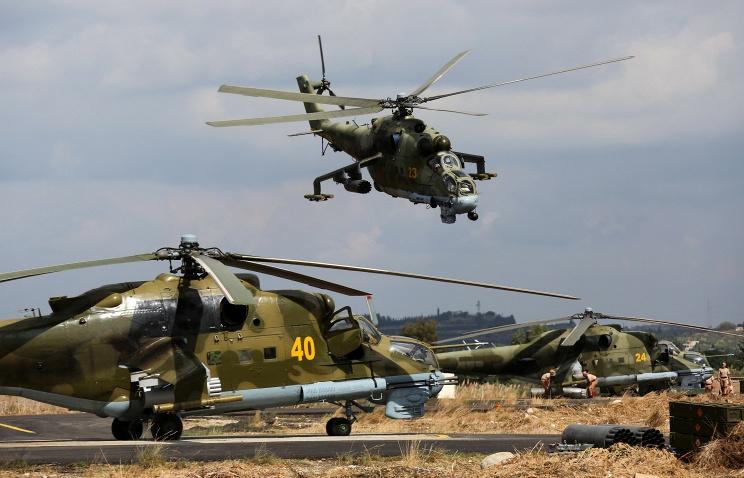 Trực thăng tấn công Mil Mi-24 tại căn cứ Hmeimim tại Syria