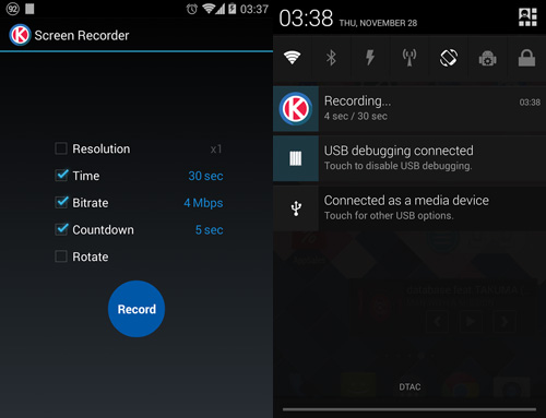 Screen Recorder For KitKat là 1 ứng dụng hay để quay phim màn hình