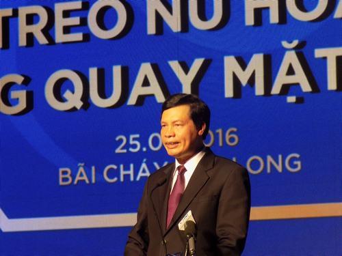 Phát biểu tại lễ khai trương, ông Nguyễn Đức Long, Chủ tịch UBND tỉnh Quảng Ninh cho biết: Với sự đồng bộ cơ sở hạ tầng dịch vụ, giao thông và môi trường đầu tư thông thoáng, Quảng Ninh đã và đang thu hút nhiều nhà đầu tư lớn, chiến lược đến với Quảng Ninh, trong đó có Tập đoàn Sungroup. Tỉnh Quảng Ninh đánh giá cao ý tưởng đầu tư của Tập đoàn tại các tỉnh trên cả nước và tại Quảng Ninh với dự án Công viên Đại Dương và các dự án lớn khác tại Vân Đồn, Cẩm Phả… Ảnh Xây Dựng