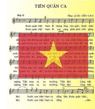 """Bài hát """"Tiến Quân ca"""" của nhạc sĩ Văn Cao."""