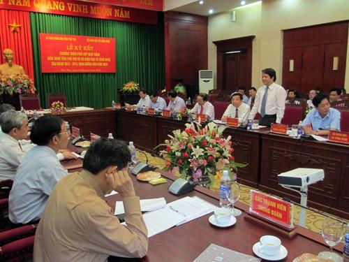 Bí thư Tỉnh uỷ, Chủ tịch HĐND tỉnh Hoàng Dân Mạc phát biểu tại hội nghị.