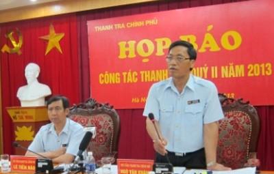 Phó Tổng Thanh tra Chính phủ Ngô Văn Khánh thông tin về tiến độ nhiều cuộc thanh tra quan trọng.