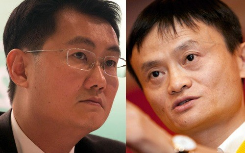 Pony Ma (bên trái) và Jack Ma, hai vị chủ tịch của Tencent và Alibab