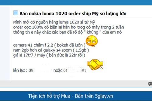 Thông tin nhận đặt hàng trước Nokia Lumia 1020 trên 5giay.vn.