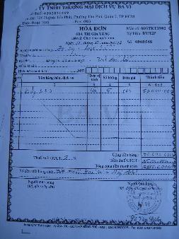 Hóa đơn xuất bán lô phân kali giả 5 tấn của Cty TNHH TM-DV Ba Vì (quận 7, TPHCM) cho Đại lý Lập Lễ (Earốc, Easúp, Đắc Lắc)