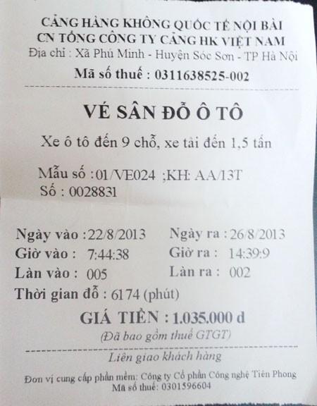 Số tiền chị Nhung phải trả cho 4 ngày gửi xe tại sân bay Nội Bài