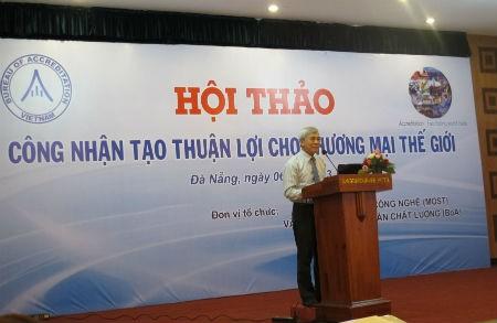 Ông Ngô Quý Việt - Tổng cục trưởng - Tổng Cục Tiêu chuẩn Đo lường Chất lượng phát biểu tại hội thảo.