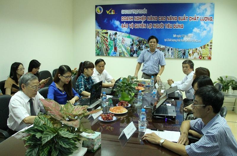 Ông Trần Văn Dư - Tổng biên tập Chất lượng Việt Nam phát biểu khai mạc giao lưu trực tuyến