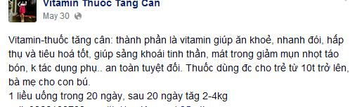 Một quảng cáo về thuốc tăng cân trên FB