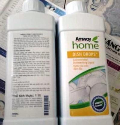 Sản phẩm nước rửa chén của Amway được bán trên thị trường.