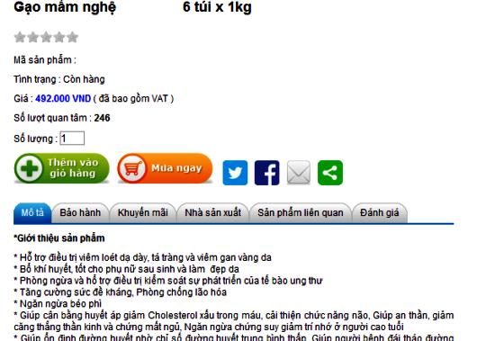 Gạo mầm chữa bách bệnh được quảng cáo trên mạng