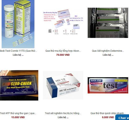 Các loại que thử được quảng cáo và rao bán trên mạng