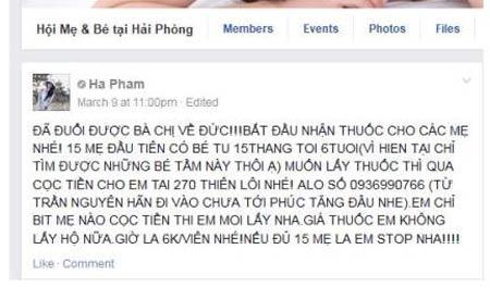 Quảng cáo thuốc của nickname Ha Pham trên facebook