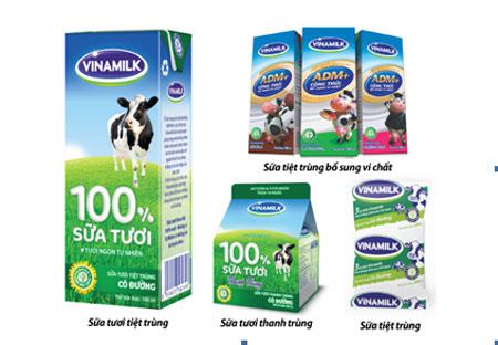 Một số sản phẩm sữa tươi nước của Vinamilk