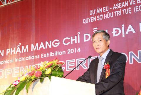 Thứ trưởng Bộ KH&CN Trần Văn Tùng phát biểu khai mạc triển lãm.