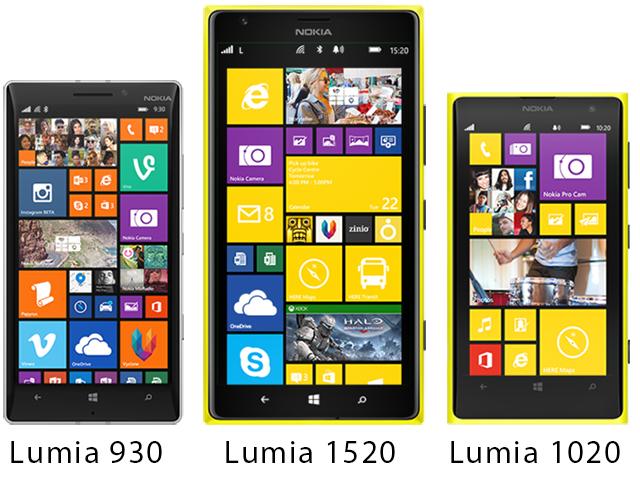 Lumia 930, Lumia 1520 và Lumia 1020