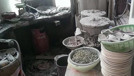 Hiện trường vụ cháy ở quán phở khu vực Trung Kính, Cầu Giấy, Hà Nội