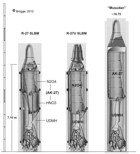 vũ khí quân sự tên lửa đạn đạo Musudan được sản xuất dựa trên phiên bản R-27 của Nga