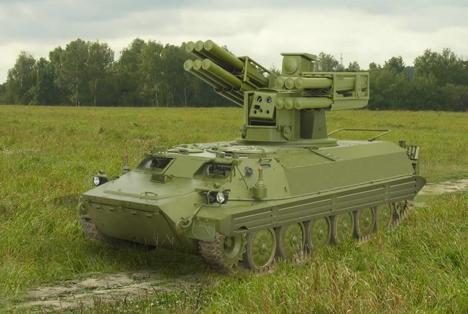 Hệ thống vũ khí quân sự tên lửa phòng không tầm ngắn Sosna được trang bị 12 quả tên lửa