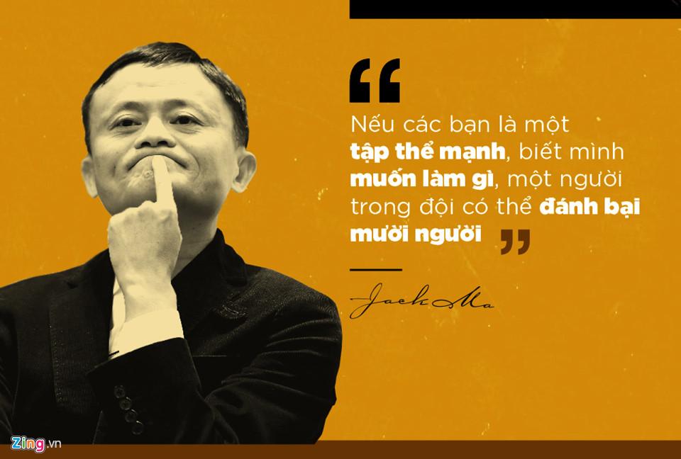 Jack Ma đánh giá rất cao sức mạnh tập thể và theo ông, một tập thể tốt sẽ giúp từng thành viên đạt được những điều không tưởng.