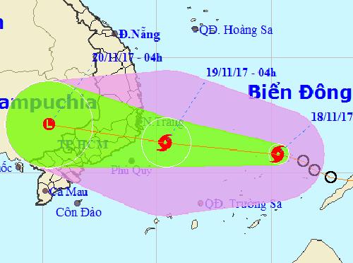 Bão số 14 giật cấp 11 cách tỉnh Khánh Hòa-Ninh Thuận-Bình Thuận khoảng 510 km