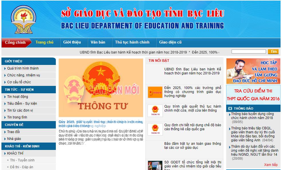 Cách tra cứu điểm thi THPT quốc gia tỉnh Bạc Liêu năm 2018 nhanh và chính xác nhất