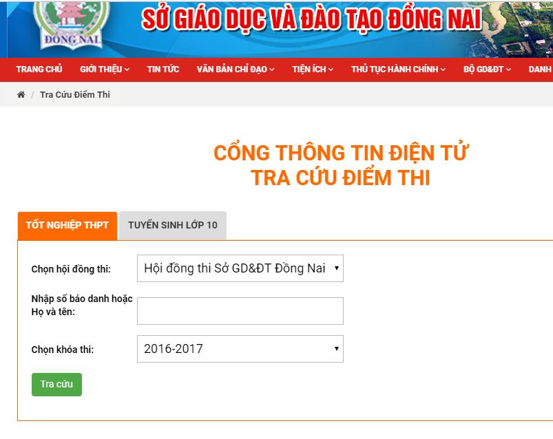 Tra cứu điểm thi THPT quốc gia tỉnh Đồng Nai năm 2018 nhanh và chính xác nhất