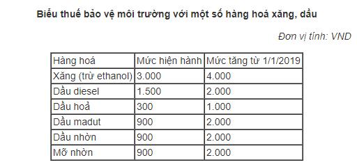 Từ ngày 1/1/2019: Tăng thuế môi trường với xăng lên kịch khung 4.000 đồng/lít