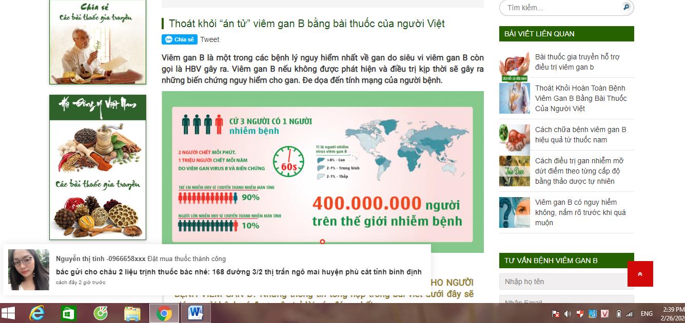 Trang website bán thuốc đông y chuyenkhoaviemgan.com hoạt động chui dùng thông tin ảo để 'câu' khách