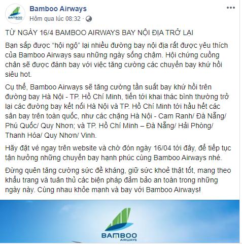 Các hãng hàng không nối lại đường bay nội địa vào 16/4