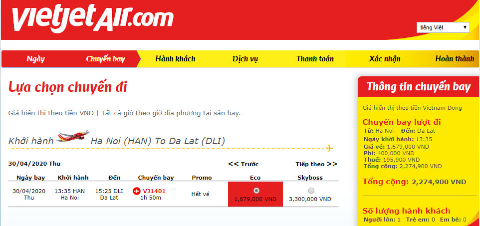 Giá vé máy bay dịp lễ 30/4 tăng nhẹ