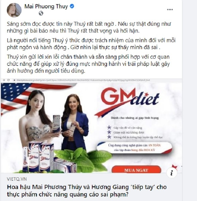 Sau phản ánh của VietQ về việc quảng cáo sản phẩm sai sự thật, Mai Phương Thúy đăng đàn xin lỗi