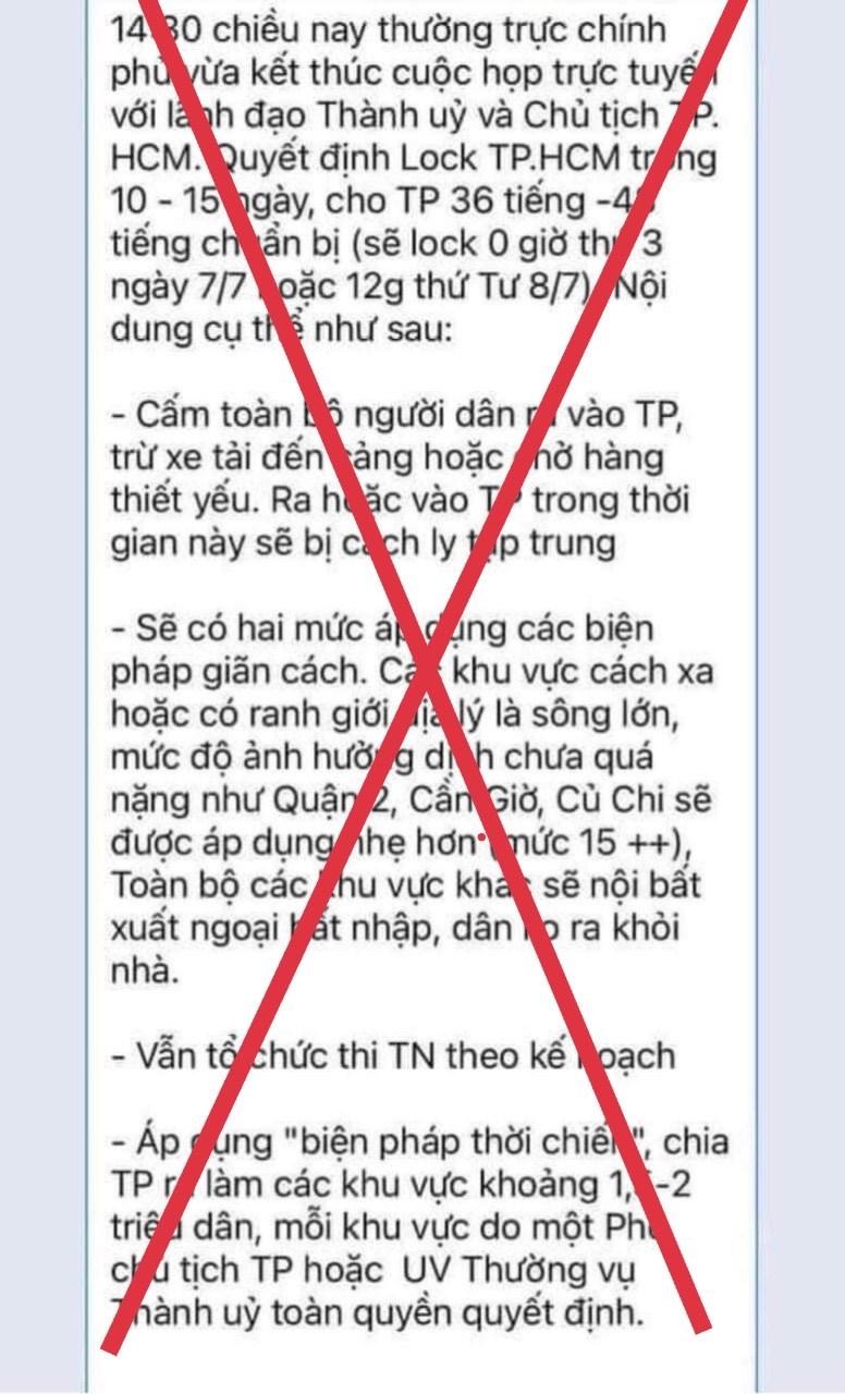 Tin đồn 'lock TPHCM trong 10-15 ngày' là tin giả mạo