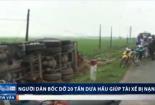 Hà Tĩnh: Lật xe tải chở 20 tấn dưa, dân tập trung thu gom giúp tài xế