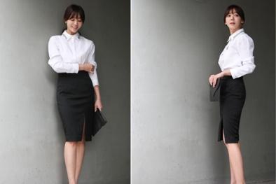 Phối đồ công sở đơn giản mà bắt mắt với chân váy đen