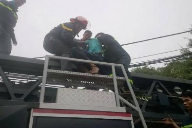 30 cảnh sát giải cứu nam thanh niên 'cố thủ' nhiều giờ trên cây cao