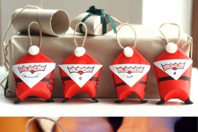 3 bước đơn giản hô biến lõi giấy thành ông già Noel