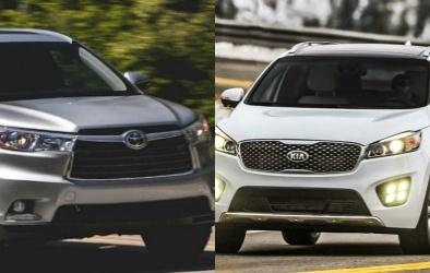 So sánh SUV gia đình hạng trung Kia Sorento và Toyota Highlander 2016